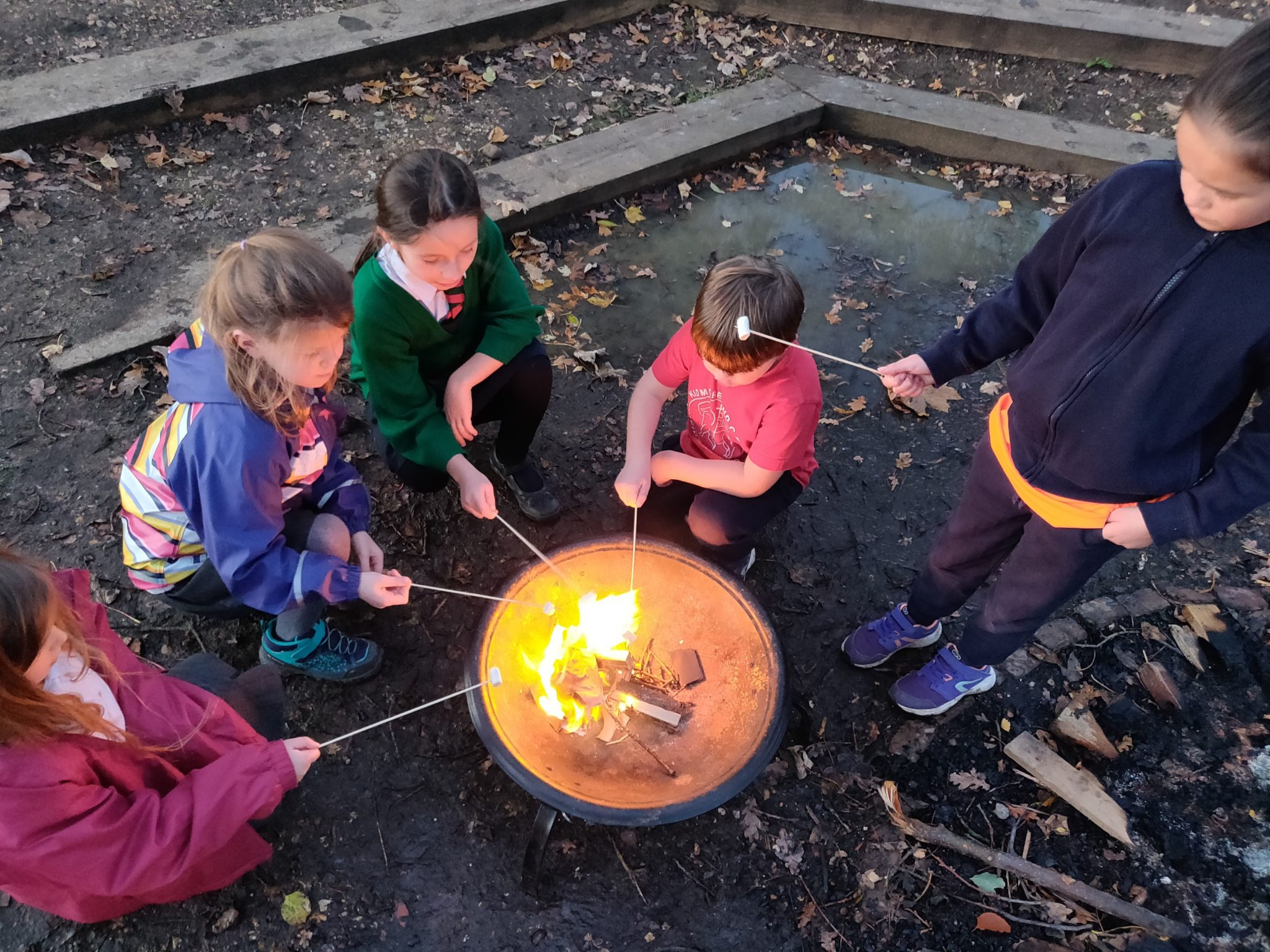 Making a campfire at the end of the day